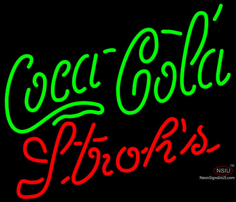 Strohs Coca Cola Green Neon Sign