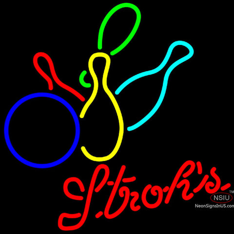 Strohs Colored Bowling Neon Sign   x