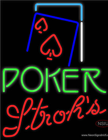 Strohs Green Poker Red Heart Neon Sign