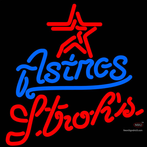 Strohs Houston Astros MLB Beer Neon Sign x