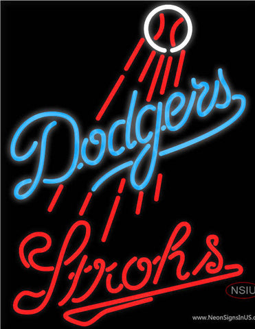 Strohs Los Angeles Dodgers MLB Beer Neon Sign