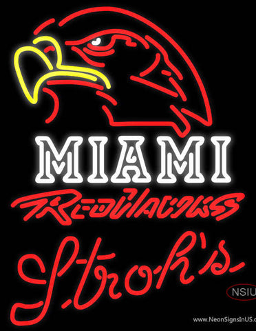 Strohs Miami UNIVERSITY Redhawks Neon Sign