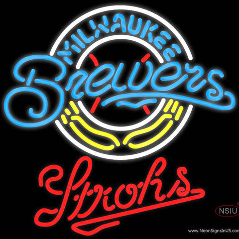 Strohs Milwaukee Brewers MLB Beer Neon Sign