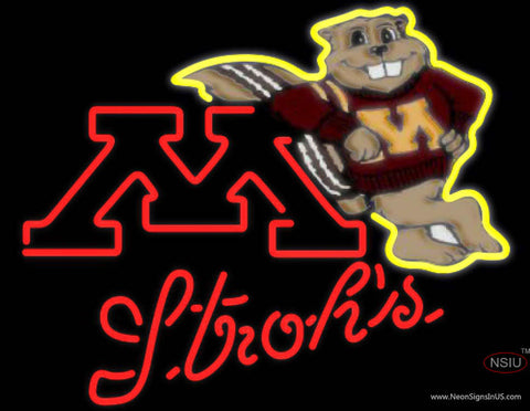 Strohs Minnesota Golden Gophers UNIVERSITY Neon Sign