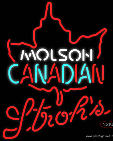 Strohs Molson Leaf Hockey Neon Sign
