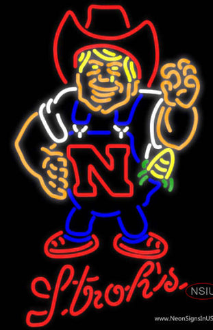 Strohs Nebraska Cornhuskers Herby The Husker UNIVERSITY Neon Sign