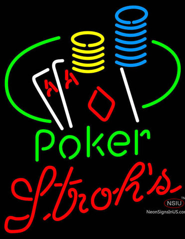 Strohs Poker Ace Coin Table Neon Sign
