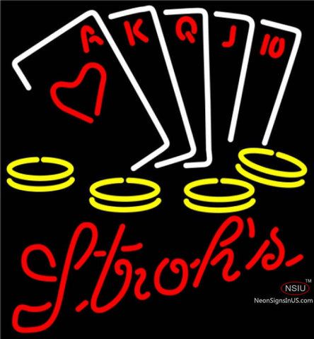 Strohs Poker Ace Series Neon Sign 7