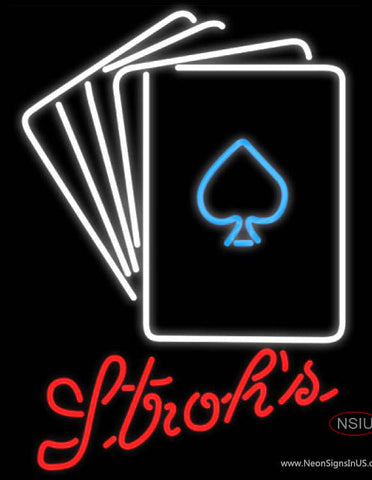 Strohs Poker Cards Neon Sign 7