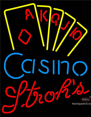 Strohs Poker Casino Ace Series Neon Sign