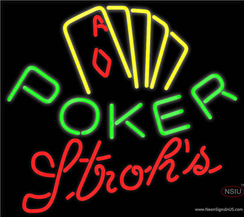 Strohs Poker Yellow Neon Sign