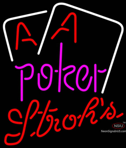 Strohs Purple Lettering Red Aces White Cards Poker Neon Sign 7
