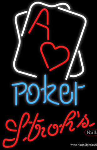 Strohs Rectangular Black Hear Ace Poker Neon Sign 7