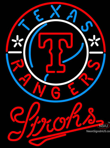 Strohs Texas Rangers MLB Beer Neon Signs