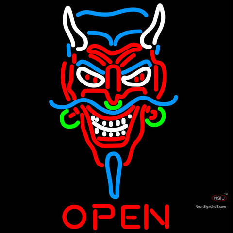 Devils Head Open Neon Sign