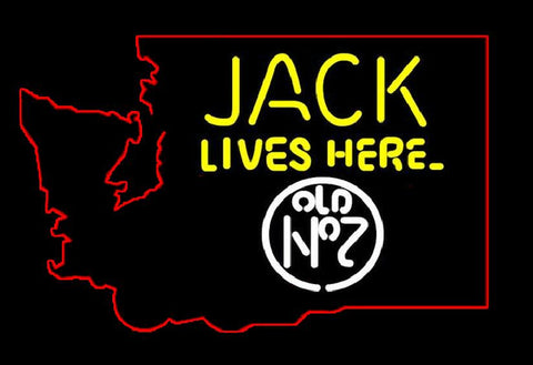 Jack Lives Here Washington state neon sign