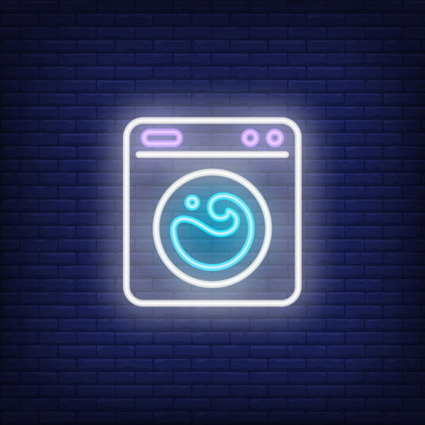 washing-machine neon sign