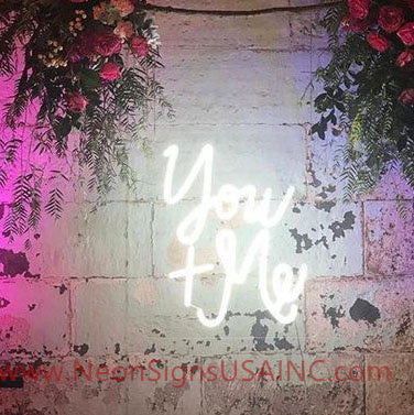 You And Me White Wedding Home Deco Neon Sign