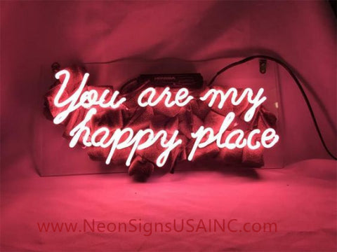 You Are My Happy Place Wedding Home Deco Neon Sign