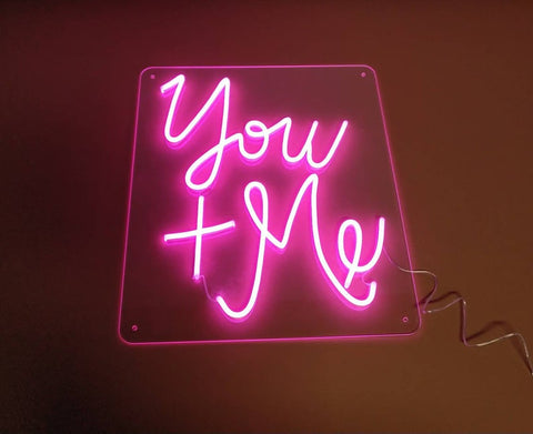 you+me neon sign for wedding homemade art neon sign