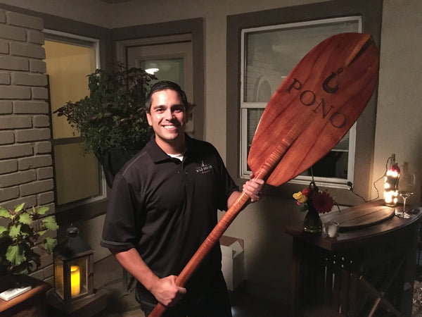 One of the very large paddles used by Dave's family in Hawaii