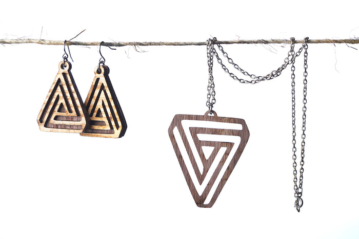 Triangle Earring Necklace Combination