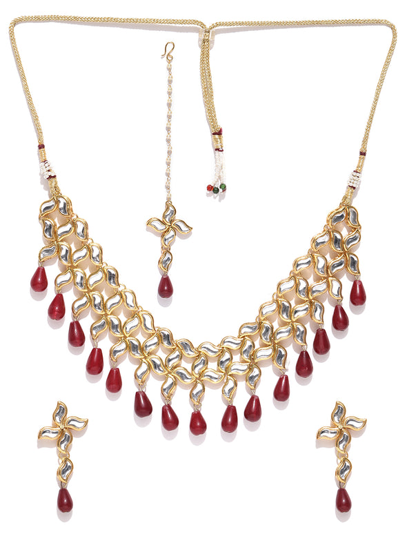 Karatcart Gold-Plated Handcrafted Kundan & Red Drop Studded Choker Necklace Set