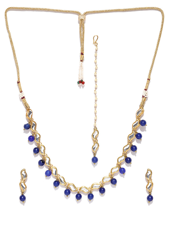 Karatcart Blue Gold-Plated Handcrafted Kundan Stone-Studded Jewellery Set for Women
