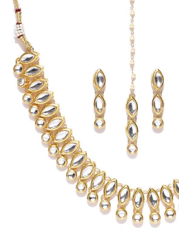 Karatcart Gold-Plated Handcrafted Kundan Studded Necklace Set