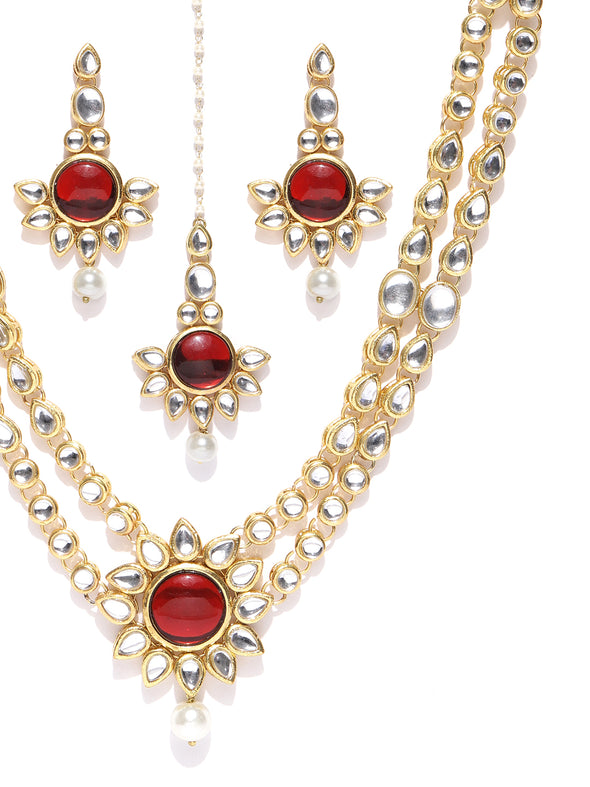 Karatcart Gold-Plated Handcrafted Red Kundan Stone Studded Rani Haar Necklace Set