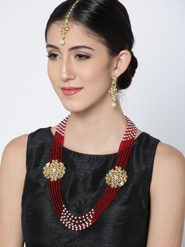 Karatcart Red Gold-Plated Handcrafted Kundan Stone-Studded Multistrand Jewellery Set for Women
