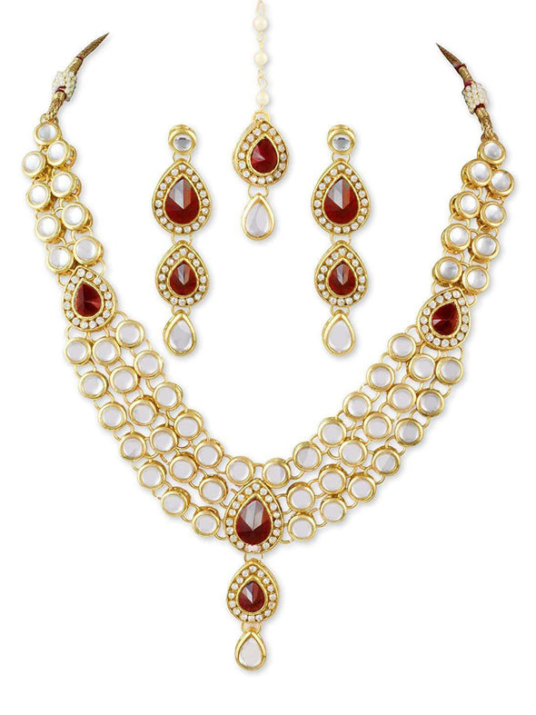 Karatcart 22K GoldPlated Red Stone Kundan Jewellery Set for Women