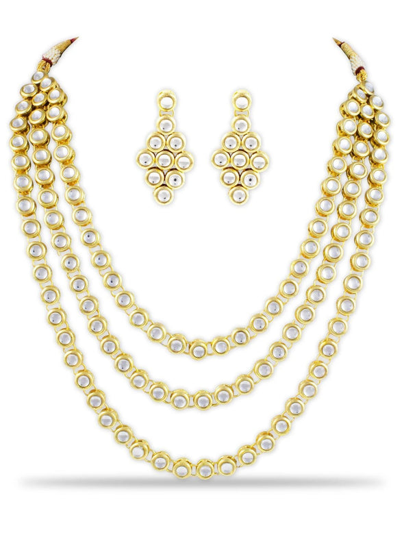 Kundan Triple Layered Ethnic Rani Haar Necklace set