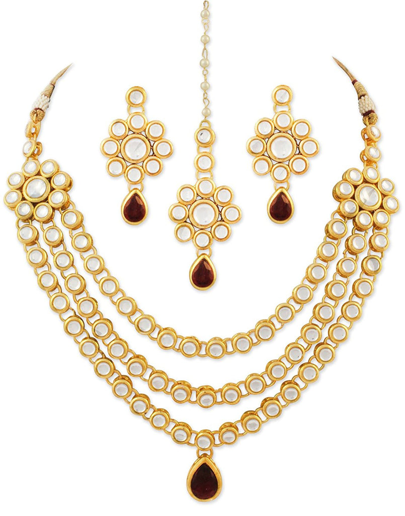 22K GoldPlated Kundan Layered Red Drop Ethnic Necklace set