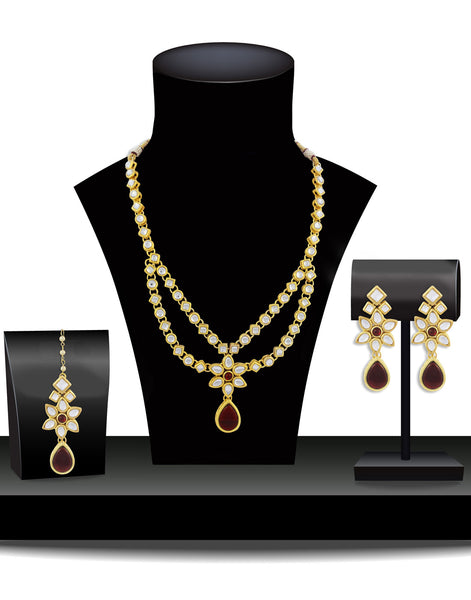 22K GoldPlated Kundan Layered Red Drop Ethnic Necklace set For Women