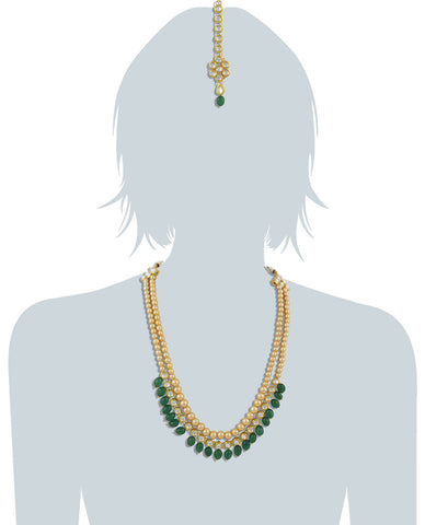 22K GoldPlated Antique origins Kundan Green Tumble Long Necklace For Women