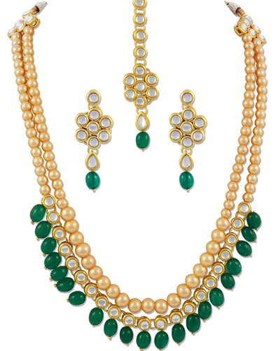22K GoldPlated Antique Rani Haar Kundan Green Tumble Long Necklace For Women