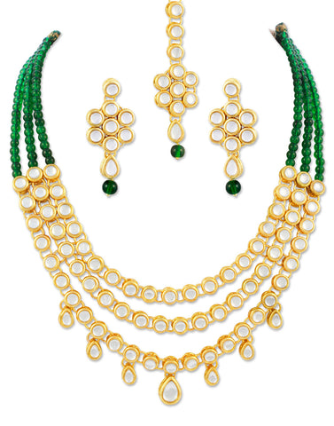 22K GoldPlated Kundan Layered Green Drop Ethnic Necklace set