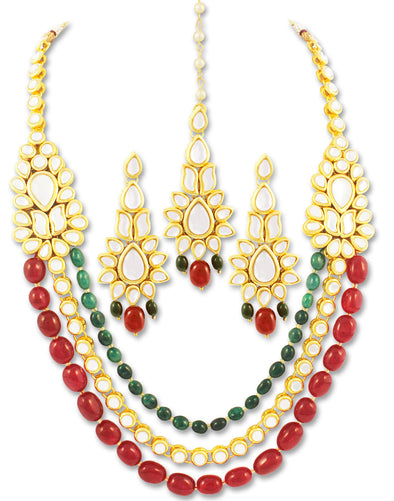 Karatcart 22K GoldPlated Antique origins Kundan Red and Green Tumble Long Necklace For Women