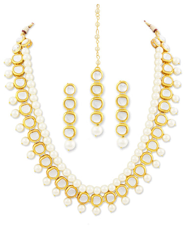 Karatcart 22K GoldPlated Kundan Layered Ethnic White Pearl Drop Necklace set For Women