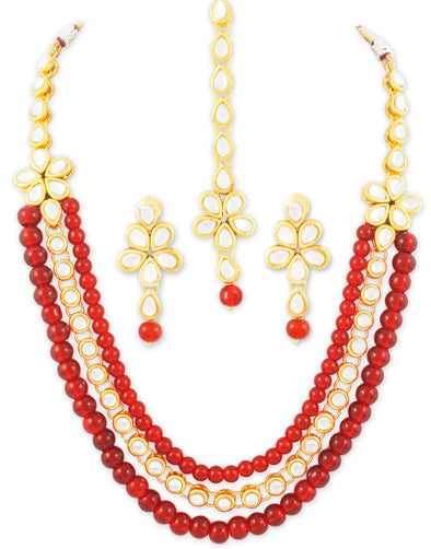 Karatcart 22K GoldPlated Antique Rani Haar Kundan Necklace For Women