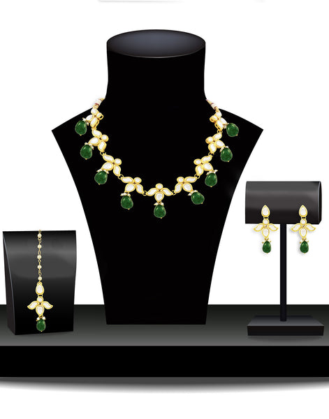 Karatcart 22K GoldPlated Antique origins Kundan Green Drop Necklace Set For Women