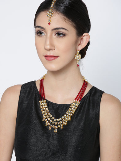 Karatcart 22K GoldPlated Kundan Layered Red Drop Rani Haar Necklace Set