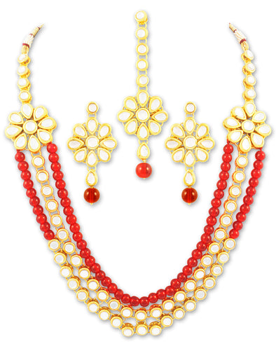 Karatcart 22K GoldPlated Antique Rani Haar Kundan Necklace Set