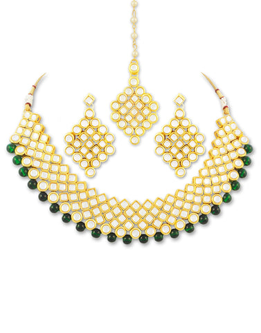Karatcart 22K GoldPlated Antique origins Kundan Green Beads Necklace Set For Women
