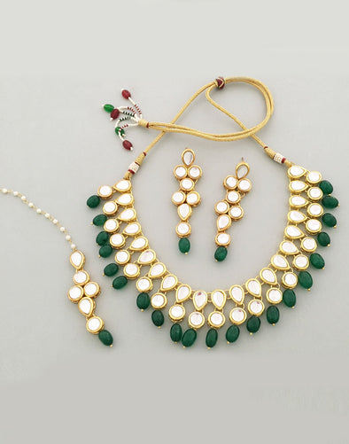 22K GOLDPLATED ANTIQUE ORIGINS KUNDAN GREEN TUMBLE NECKLACE SET