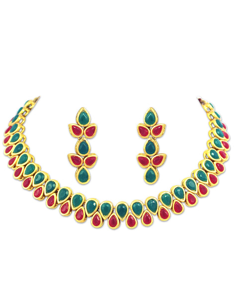 22K GoldPlated Antique origings Red and Green Kundan Necklace