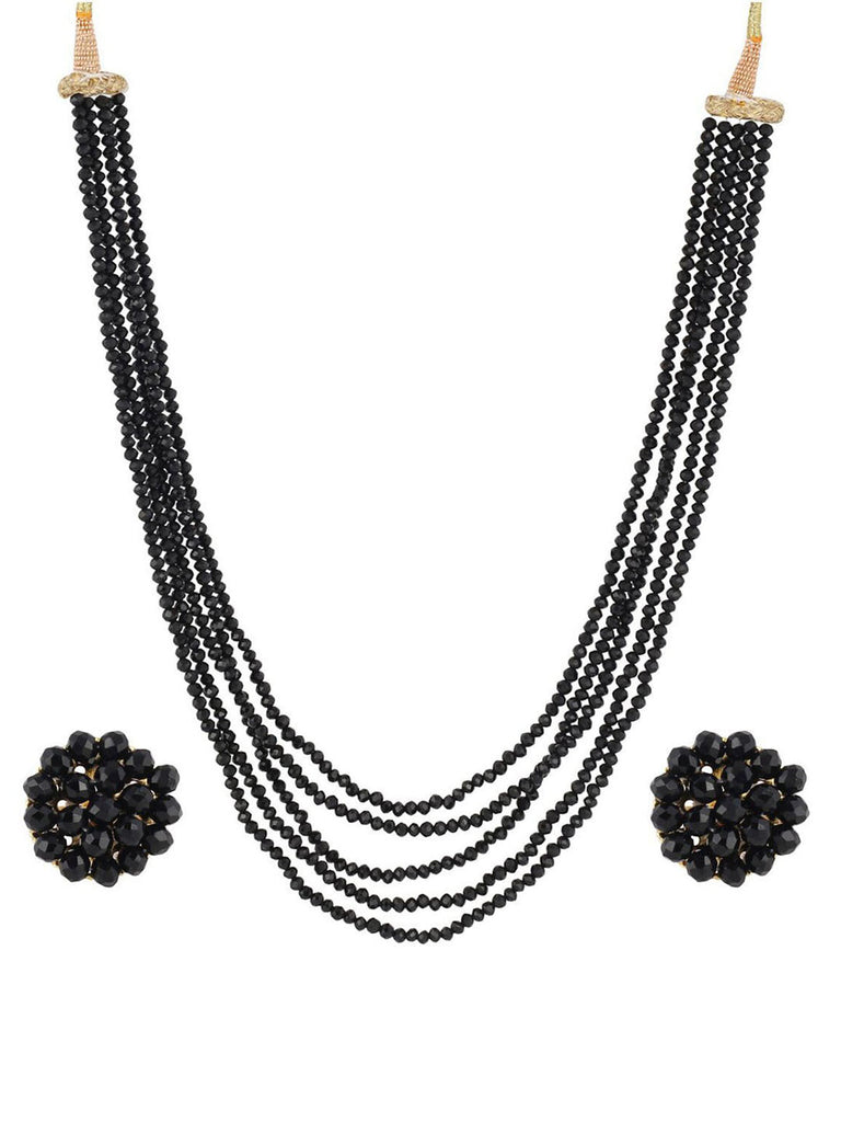 Black Crystal Beads Multi-Strand Necklace Set