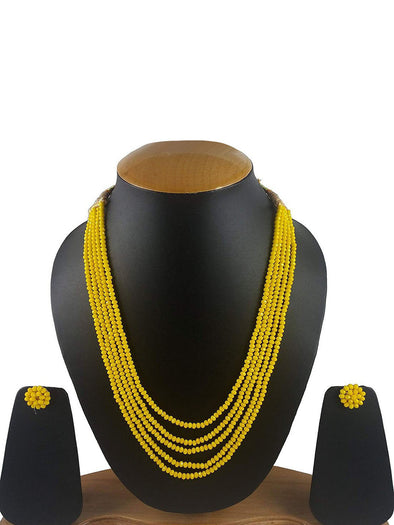 Yellow Crystal Beads Multi-Strand Necklace Set