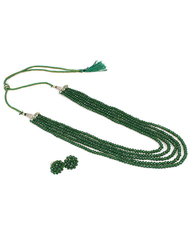 Green Crystal Beads Multi-Strand Necklace Set